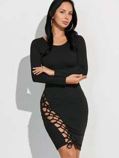 Long Sleeve Cut Out Bodycon Dress Plus Size Club Dresses, Club Party Dresses, Sexy Party Dress, Black Bodycon Dress, Peplum Dress, Dress Shoes, Sammy Dress, Cheap Dresses, Dress For You