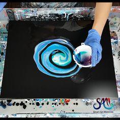 Canvas Painting Tutorials, Diy Canvas Art, Diy Painting, Pour Painting Techniques, Acrylic Pouring Techniques, Acrylic Pouring Art, Acrylic Art, Galaxy Painting Acrylic, Diy Resin Art