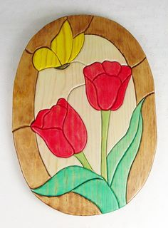 Handcrafted Wooden Intarsia Red Tulip Flower Yellow Butterfly Wall Hanging Plaque