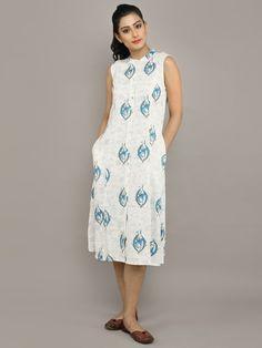 Ivory Blue Cotton Jute Shirt Dress