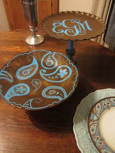 Lizzi's Creations: DIY Cake Stand--the monogrammed one, I could make that with vinyl and thrift the plate/candlestick--for the mini tier