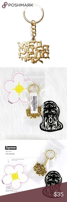 """New Supreme Go-Fuck-Yourself Gold Metal Keychain Welcome! ❤️ You are viewing a guaranteed authentic New Supreme Go-Fuck-Yourself Gold Metal Keychain ~ part of the 2017 Spring/Summer collection release, purchased from the NYC online store. Sturdy metal keychain in gold with dope hanging charm. Measures 3.5"""" with 1"""" key ring. New in original, unopened retail bag that's stapled shut. Also included are two Supreme stickers that it came with - a flower and an alien. Receipt of purchase is…"""