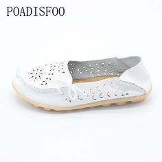 Woman leather flat shoes 2017 breathable light hollow casual fashion driving shoes spring summer woman shoes. Click visit to buy #Women #Vulcanize #Shoes #WomenShoes #VulcanizeShoes