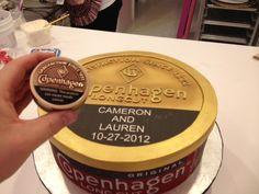Cake Central: Copenhagen Tobacco Can Groom's Cake Comparison Photo....Only Travis's would be Grizzly!! LMAO!! @Carrie Mcknelly Mcknelly Wuyts-Braun @Molly Simon Simon Mollet @MacKenzie Van Den Heuvel