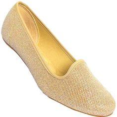 Sapatilha Moleca Tela Glamour Dourada
