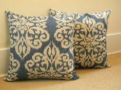 Pair of Handmade Bella Ikat Indigo Blue Pillow Covers via Etsy