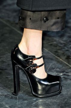 The buckle is back! A twist on the mary-jane, an ankle strap gives a sweet, feminine touch to any high heel.  -Adam