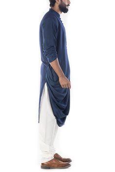 Featuring a blue cowl drapped kurta with churidar pant. The kurta has pintex stitch on the yoke. The kurta has a high collar. Kurta Men, Boys Kurta, Indian Men Fashion, Mens Fashion Suits, Indian Groom Wear, Indian Wear, Pathani Kurta, Gents Kurta, Kurta Style