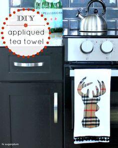 Hi Sugarplum | DIY Applique Deer Head Tea Towel
