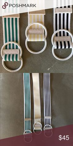 Lacoste preppy canvas striped belts Lacoste preppy collegiate canvas stripe belts with leather bundle. Gently used/new. Yellow & white, green & white, black & white. No trades. Lacoste Accessories Belts