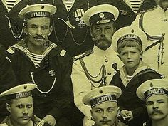 Extremely rare photograph, circa 1911, of Nikolay II, Czarevich Alexey, and crew of the yacht STANDARD, photographer Karl von Ghan of Tsarskoe Selo. Remarkably, the original owner of the photo is the sailor Ivan Badyin, seated right next to the Tzar. He was married and got a child. Was awarded. No more information about him...Nikolay II is wearing white (summer) uniform of a Navy officer, Alexei is wearing an everyday sailor's black & blue uniform and bezkozirka (a visorless Navy cap).