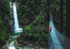 This beautiful waterfall and suspension bridge is just a short walk up a trail from the parking lot. Cascade Falls, Wild Nature, Outdoor Travel, The Great Outdoors, Waterfall, Places To Visit, Around The Worlds, Outdoor Adventures, Park