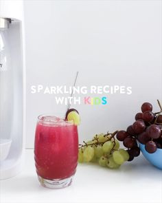 A delicious treat for your kids (or yourself!), perfect for a warm afternoon or celebration. Add your favorite alcohol for a boozy brunch your friends would love! Healthy Juice Recipes, Healthy Juices, Healthy Smoothies, Stay Healthy, Healthy Food, Grape Soda, Soda Stream Recipes, Water Recipes