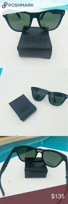 Rayban folding wayfarer Authentic Rayban folding wayfarer is an innovative light weight frame which folds down neatly into a compact case for easy storage and transport. It's excellent used condition, no scratch. Classic black. Rayban Accessories Sunglasses