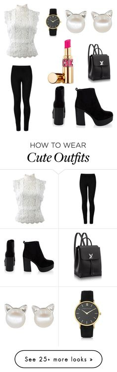 """""""My First Polyvore Outfit"""" by nikitf47 on Polyvore featuring Larsson & Jennings, Oscar de la Renta, Wolford and Yves Saint Laurent"""