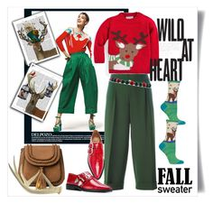 """Cozy Fall Sweater: Wild at Heart"" by vittorio-1 ❤ liked on Polyvore featuring P.A.R.O.S.H., FabFunky, HOT SOX, Gucci and Toga"