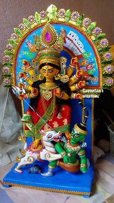 Indian Goddess Kali, Goddess Art, Goddess Lakshmi, Indian Gods, Durga Maa Paintings, Durga Painting, Durga Saptashati Book, Hare Krishna Mantra, Durga Images