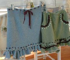 sweater skirt sage green flirty ruffled repurposed by tatters1, $49.00