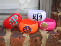Monogram Acrylic Bangle Bracelets - just $15! This would have been cute with sorority letters on them for college.