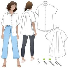 Sewing Top Martha Overshirt Sewing Pattern By Style Arc - Designer shirt featuring a swing back, extended shoulder and a neat shirt collar. - Designer shirt featuring a swing back, extended shoulder and a neat shirt collar. Dress Sewing Patterns, Sewing Patterns Free, Clothing Patterns, Shirt Patterns For Women, Blouse Sewing Pattern, Shirt Collar Pattern, Shirt Dress Pattern, Fashion Patterns, Pants Pattern
