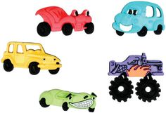 These Funny cars novelty buttons are ready to enhance your knitting, crocheting, sewing, quilting or craft project.   • Measure approximately 1inch. • Button is a snap-together with a self shank  • COLOR: Assorted shades, as shown in the picture. • Five pieces