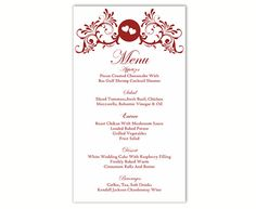 Wedding Menu Template DIY Menu Card Template Editable Text Word File Instant Download Wine Red Menu Heart Menu Card Printable Menu 4x7inch by TheDesignsEnchanted on Etsy