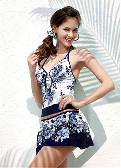 Fabulous Blue Halter Top & Low Rise Bottom.  Three-piece Tankini Set With a Cover Skirt $28.04 #Dressilyme