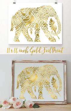 11x14 inch Elephant gold foil art print. Unique real gold foil elephant design printed on archival quality extra-heavy matte cardstock. Beautiful and on-trend wall décor suitable for bohemian, eclectic, tribal, contemporary and even baby nursery design styles. Free 2-day shipping with Amazon Prime. Gift wrapping available.