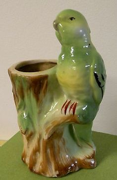 Vintage Made in Japan Pottery Parakeet Budgie Bird on A Tree Vase Cute | eBay