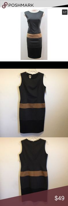 🧡Anne Klein Color Block Dress 🧡Beautiful Color Block Dress🧡 🧡Crew Neck 🧡Sleeveless Cocktail Dress 🧡Sheath Style  🧡Fully Lined Anne Klein Dresses Midi