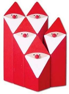 Such a simple design, such a great effect! Tomtar made of wood blocks can be arranged in countless ways. Christmas Wood Crafts, Christmas Gnome, Outdoor Christmas, Handmade Christmas, Holiday Crafts, Christmas Ornaments, Holiday Ideas, Wood Block Crafts, Wood Blocks