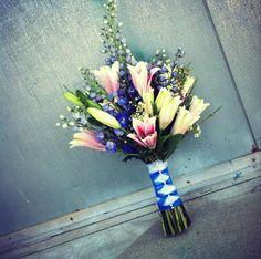 Pink and blue wedding bouquet stargazer lily wedding bouquet