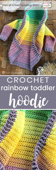 Get the free crochet pattern for this rainbow toddler hoodie cardigan sweater from Heart Hook Home featured in my gender neutral rainbow baby FREE pattern roundup!