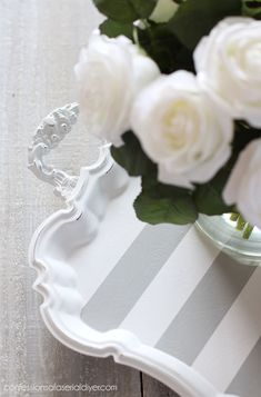 Silver Tray Makeover - Decorative Tray - Ideas of Decorative Tray - FrogTape for delicate surfaces is perfect for getting super crisp stripes. Upcycled Crafts, Diy And Crafts, Silver Trays, Silver Plate, Very Happy Birthday, 70th Birthday, Painted Trays, Ideias Diy, Tray Decor
