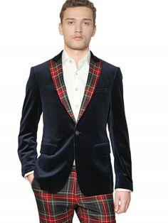 Etro Velvet Jacket with Tartan Lapels