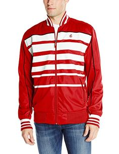 Rocawear Men's Streets Cotton Poly Tricot Track Jacket  Contrast stripes across front  RW flame stitch logo left chest
