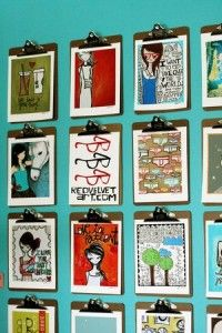 clipboard wall- like the splash of color on the wall playroom for kids art