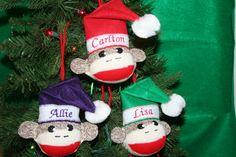 Handmade SOCK MONKEY BALL Christmas Ornament