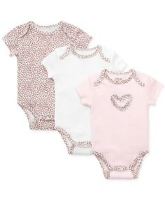 She'll look fiercely stylish in these leopard-print bodysuits from Little Me. | Cotton | Machine washable | Imported | Little Me baby girls' three-pack | Lap shoulders; short sleeves | Snaps at bottom