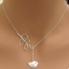 Cute Little Sparrow Lariat Necklace. A lariat style necklace, which gives you options for length and style. Adjust length by pulling the bird.
