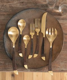 Roost Safari #Flatware - Indian rosewood and matte-finished cast #brass. #kitchen