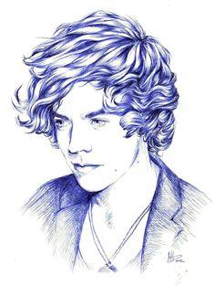 ∞ One Direction [1D] → Harry Styles Illustration by ~dariemkova on deviantART