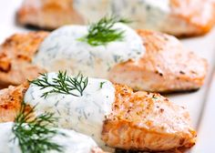Easy Salmon Recipes – Best Salmon Recipe – Sauce For Salmon – All Recipes Food Cooking Network Salmon With Creamy Dill Sauce Recipe, Soy Salmon Recipe, Dill Sauce For Salmon, Easy Salmon Recipes, Recipe Soy, Honey Salmon, Fish Dishes, Seafood Dishes, Fish And Seafood