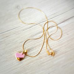 Small heart necklace Heart pendant necklace gold plated necklace Ceramic necklace Gift necklace Gold plated pendant Artisan necklace golden