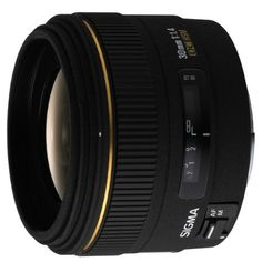 Sigma 30mm f/1.4 EX DC HSM Lens for Canon Digital SLR Cameras by Sigma. $309.00. Amazon.com                Designed to match the APS-C size image sensors of Canon digital SLR cameras, the Sigma 30mm f/1.4 lens is an ideal choice for a wide range of applications, including snapshots, portraiture, indoor shooting, and landscape photography. The 30mm lens relies on two special-low-dispersion glass elements and a glass-mold aspherical lens. Combined, the construction detail...