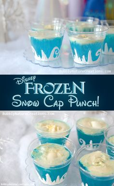 Blue Hawaiian Punch Lemon Lime Soda Vanilla Ice Cream  cups made with white fabric pin and glitter - free hand the mountains and swirls