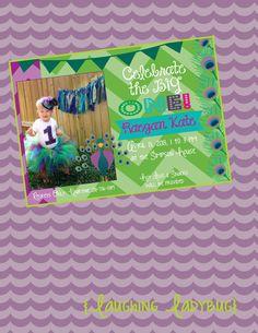 Peacock birthday invitation printable by TheLaughingLadybug, $15.00