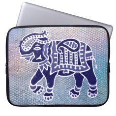 indian folk art elephant blue laptop sleeve - blue gifts style giftidea diy cyo