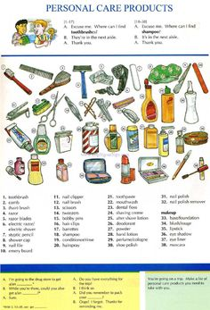 19 - PERSONAL CARE PRODUCTS - Pictures dictionary - English Study, explanations, free exercises, speaking, listening, grammar lessons, reading, writing, vocabulary, dictionary and teaching materials