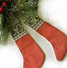 Swedish Print Stocking Ornament in Black and Red by CherieWheeler, $9.00